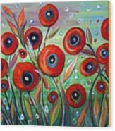 Red Poppies In Grass Wood Print