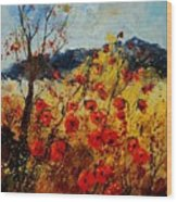 Red Poppies In Provence  Wood Print