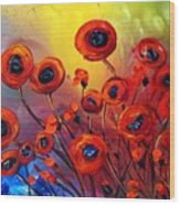 Red Poppies In Rain Wood Print