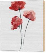 Red Poppies Minimalist Painting Wood Print
