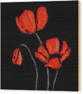 Red Poppies On Black By Sharon Cummings Wood Print