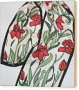 Red Poppies Silk Scarf Wood Print