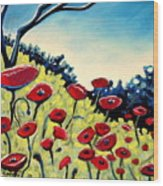 Red Poppies Under A Blue Sky Wood Print