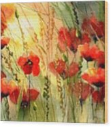 Red Poppies Watercolor Wood Print