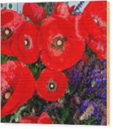 Red Poppy Cluster With Purple Lavender Wood Print
