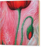 Red Poppy Flower. Pink Sunset Wood Print