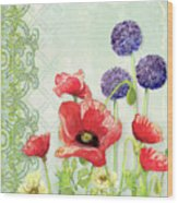 Red Poppy Purple Allium IIi - Retro Modern Patterns Wood Print