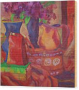 Red Purse On Green Book Wood Print