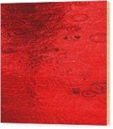Red Rain Droplets Wood Print