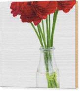 Red Ranunculus Flowers Wood Print