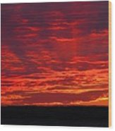 Red Ray Sunset Wood Print