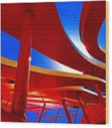 Red Ride Blue Sky Wood Print