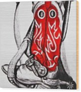 Red Riding Boots Wood Print