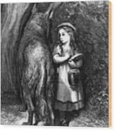 Red Riding Hood Meets Old Father Wolf Wood Print