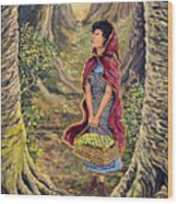 Red Riding Hood On The Path To Grama's House Wood Print