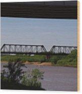Red River Truss Bridge Wood Print
