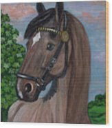 Red Roan Horse Wood Print by Anna Folkartanna Maciejewska-Dyba