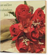Red Roas Bouquet Jude 2 Wood Print