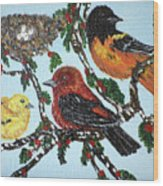 Red Robins Wood Print
