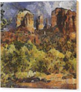Red Rock Crossing Wood Print by Elaine Frink