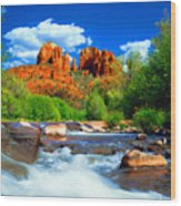 Red Rock Crossing Wood Print by Frank Houck