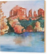 Red Rock Crossing Wood Print by Sharon Mick