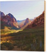 Red Rock Rays Wood Print