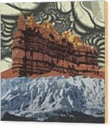 Red Rock White Ice Wood Print