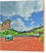 Red Rocks Hippie Van Wood Print