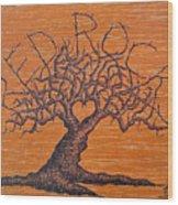 Red Rocks Love Tree Wood Print