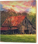 Red Roof At Sunset Wood Print
