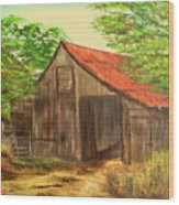 Red Roof Barn Wood Print