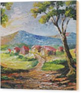 Red Roofs Wood Print