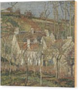 Red Roofs, Corner Of A Village, Winter Wood Print