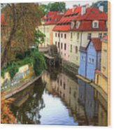 Red Roofs Of Prague Wood Print