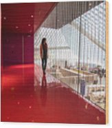 Red Room Views At The Seattle Central Library Wood Print
