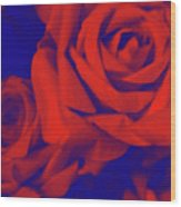 Red, Rose And Blue Wood Print