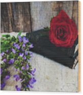 Red Rose And Sage With Vintage Books Wood Print