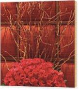 Red Rose Display Close Up Wood Print by Linda Phelps