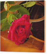 Red Rose Natural Acoustic Guitar Wood Print by M K  Miller