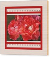 Red Rose With A Whisper Of Yellow And Design Wood Print