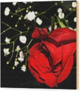 Red Rose With Baby Breath Wood Print
