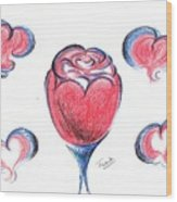 Red Rose- With Love  Wood Print