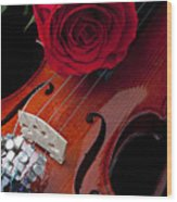 Red Rose With Violin Wood Print by Garry Gay