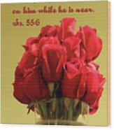 Red Rosed In Vase Is.55 V 6 Wood Print