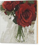 Red Roses And Glass Still Life 042216 1a Wood Print