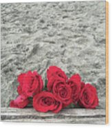 Red Roses Beachside Wood Print