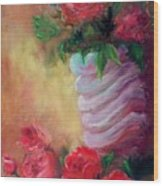 Red Roses For A Blue Vase Wood Print