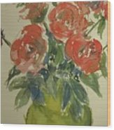Red Roses In A Green Vase Wood Print