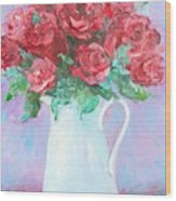 Red Roses In White Jug Wood Print by Jan Matson